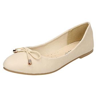 Ladies Leather Collection Bow Trim Vamp Ballerinas F80275