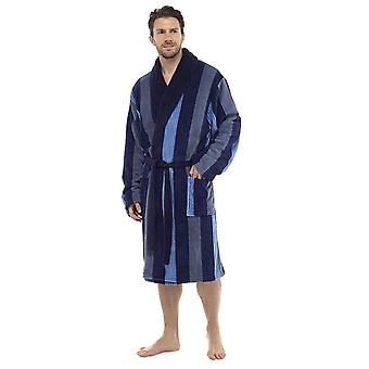 Foxbury Mens Classic Multi Stripe Supersoft Fleece Nightwear Halat de baie