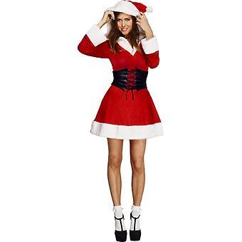 Koorts collectie hooded Santa jurk petticoat met kap en riem maat M
