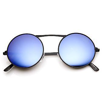 العارضة عالية معدنية كلاسيكية الأزرق مرآة عدسة النظارات الشمسية الدائرة المستديرة