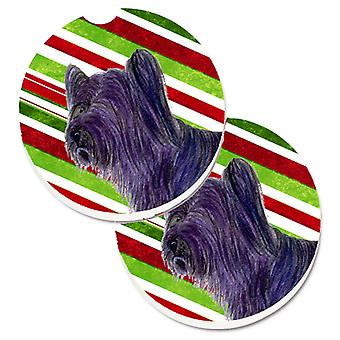 Skye Terrier Candy Cane Holiday Christmas Set of 2 Cup Holder Car Coasters