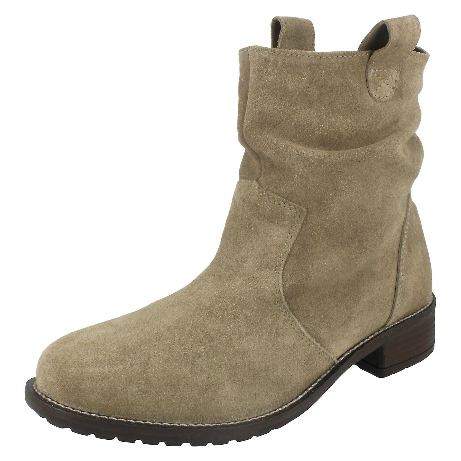 Ladies Leather Collection Mid Heel Slouch Boots F50659 bqVFx