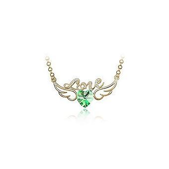 Womens grön och guld kärlek hänge halsband med änglavingar