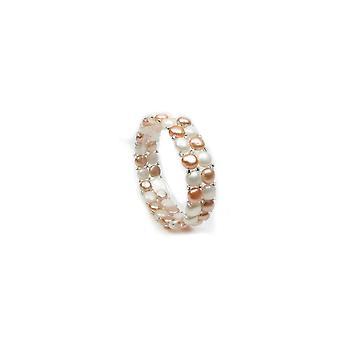 Bracelet Femme Stretch 2 rangs Perles de culture d'eau douce blanches et roses 4343