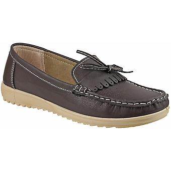 Amblers dames Elba Slip op stijlvolle Lace zomer Loafer Brown