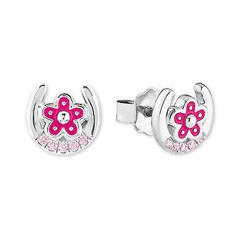 Prinses Lillifee kinderen oorbellen zilver hoefijzer bloemen roze 2021005