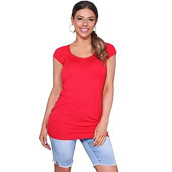 KRISP KRISP Senhoras Low Cut Plain Hip Long Line Top T Shirt TTunic Summer Holiday 7604