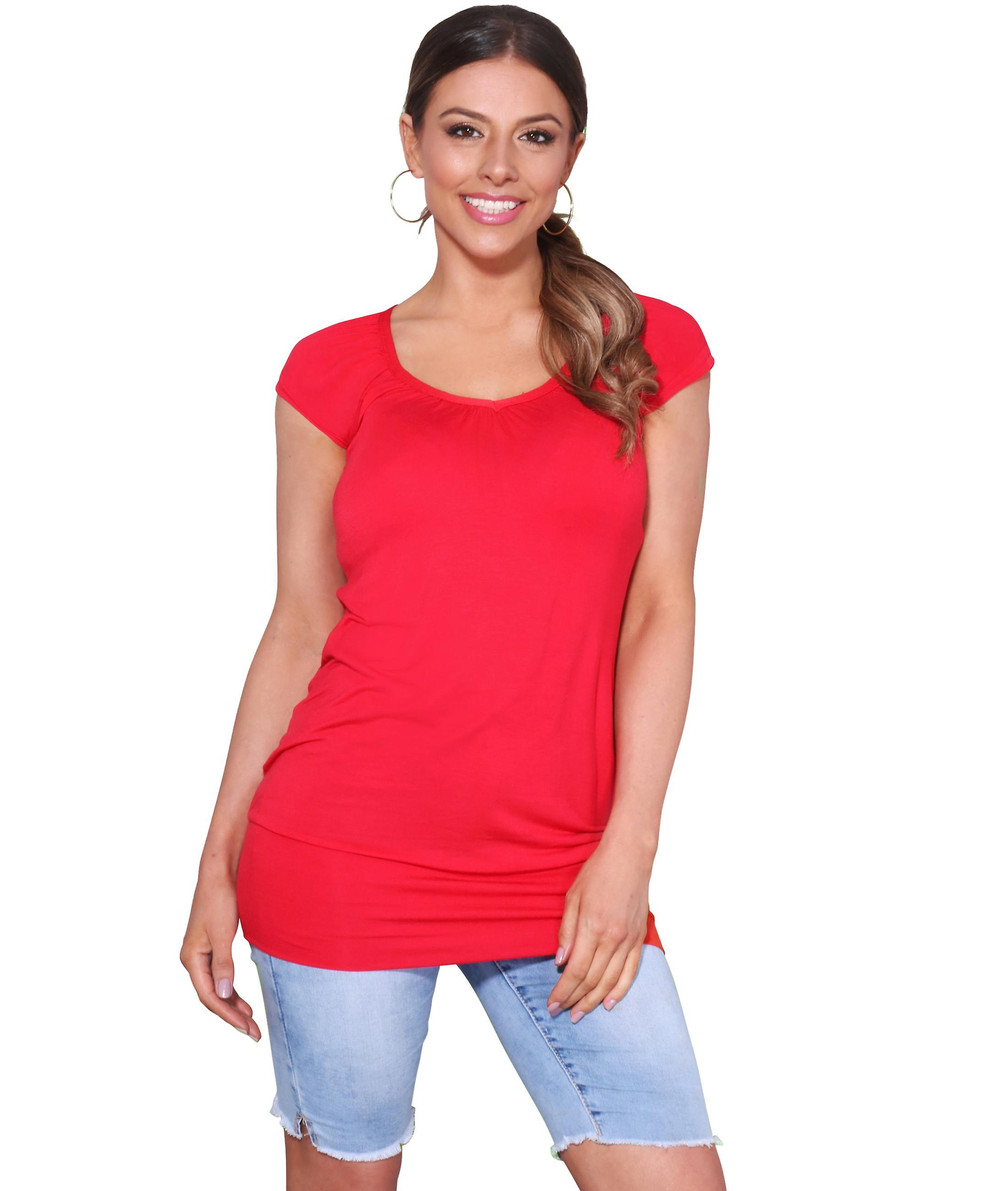 KRISP Ladies lav cut vanlig hip lang linje topp T skjorte