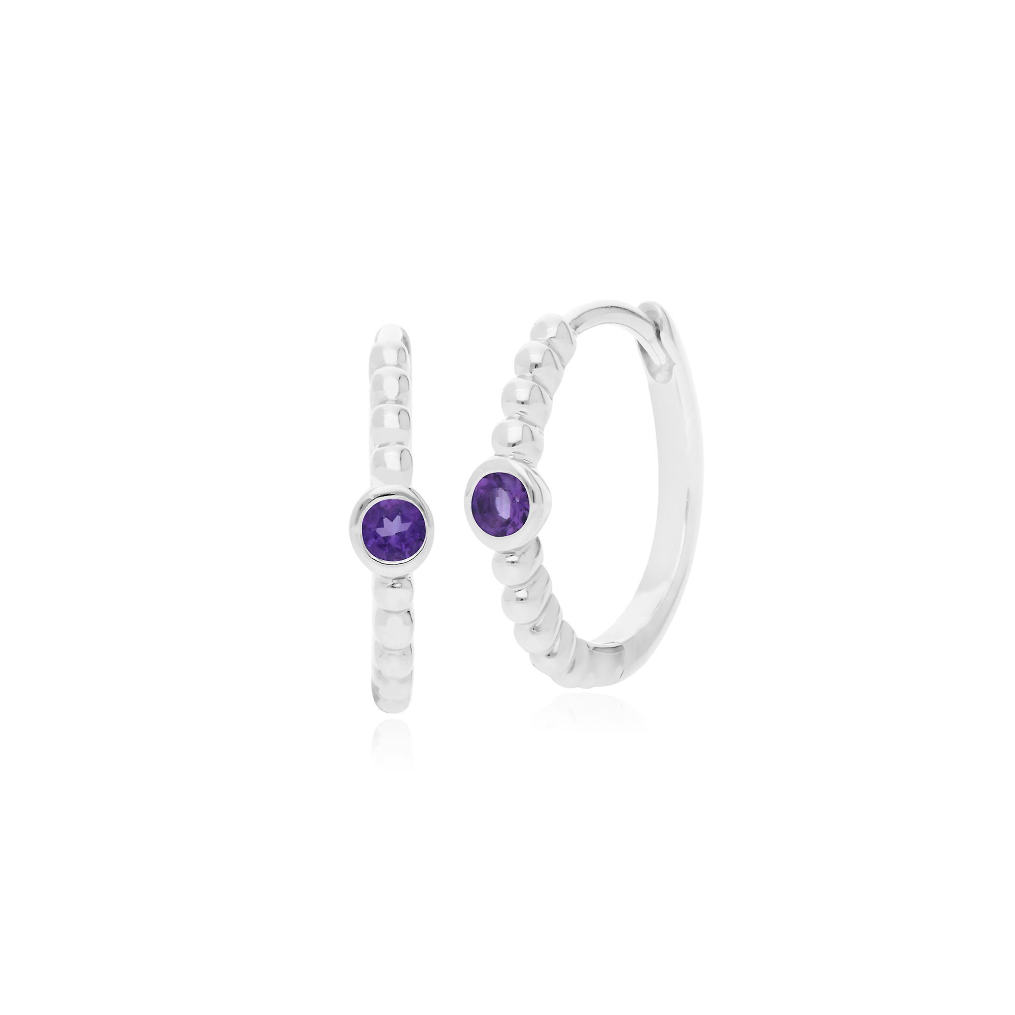 Gemondo Sterling Silver 0.08ct Amethyst February Birthstone Hoop Earrings