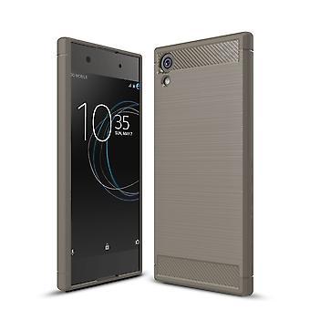 Sony Xperia XA1 ultra TPU sprawa włókna węglowego optyka ochrony okładka szary szczotkowane