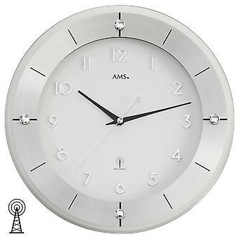 Radio controlled wall clock aluminium faceted mineral glass modern