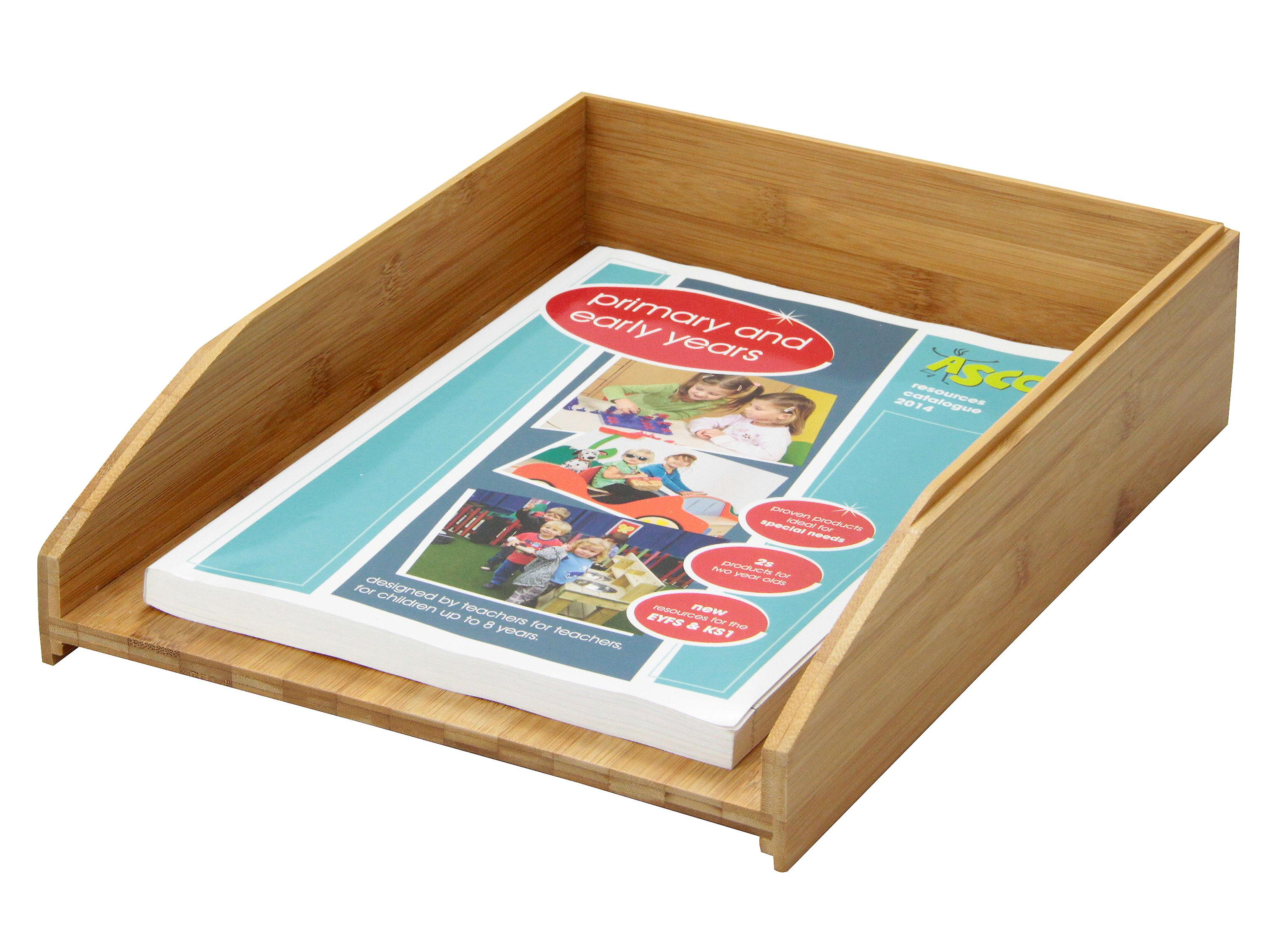 Woodquail Bamboo Stackable Letter Rack A4 Paper Tray Magazines Holder Sorter