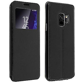 Funda libro billetera Ventana Negra Samsung Galaxy S9 Función silicona – soporte