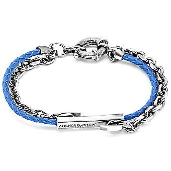 Anchor and Crew Belfast Silver and Leather Bracelet - Royal Blue