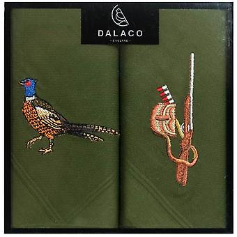 Dalaco Pheasant and Gun Handkerchiefs - Green