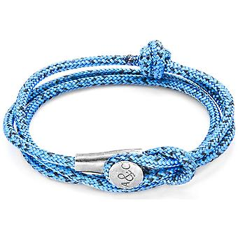 Anchor and Crew Dundee Silver and Rope Bracelet - Blue Noir