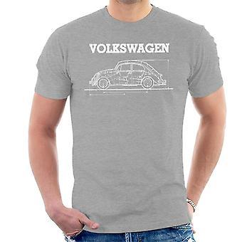 Official Volkswagen Beetle White Technical Diagram Men's T-Shirt