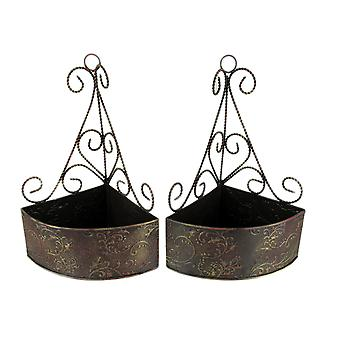 Brown and Gold Embossed Metal Wall Mount Corner Baskets Set of 2