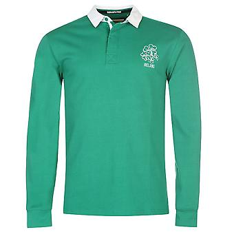 Team Mens Rugby Long Sleeve Jersey Cotton Colour Contrasting Polo Shirt Top