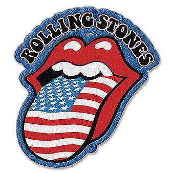 The Rolling Stones Patch US Flag Tongue Band Logo new Official Iron on