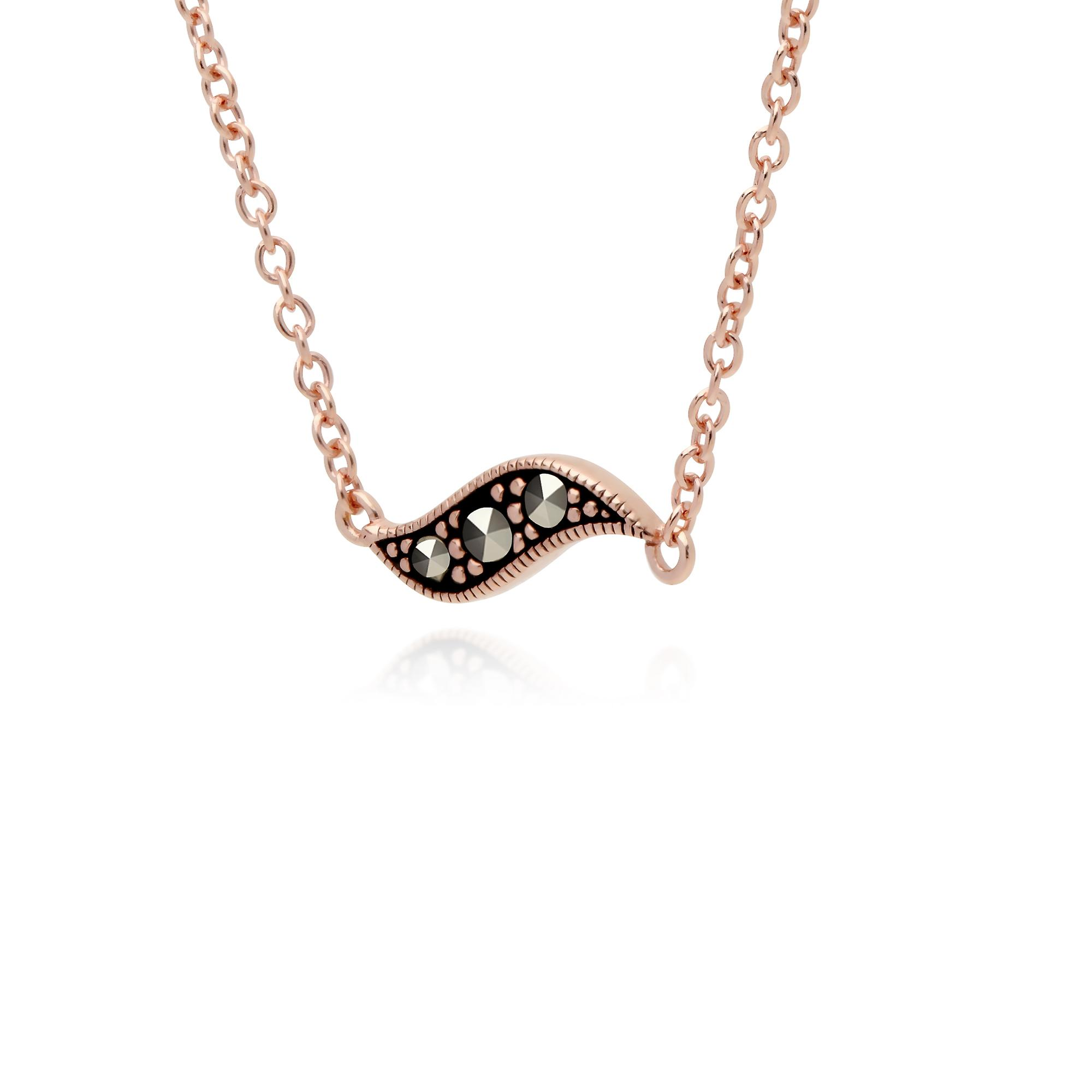 Gemondo Rose Gold Plated Sterling Silver Marcasites in a Pod 42cm Necklace