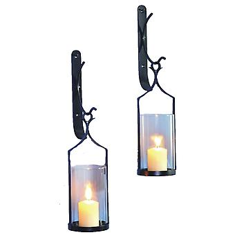 Wall Lantern 2-pack forging 43cm sconce black tealight lantern block Light