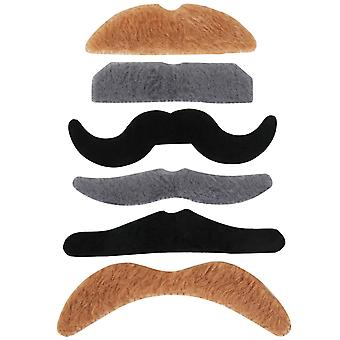 TRIXES 6 Self adhesive Assorted Fake Moustache Set Fancy Dress