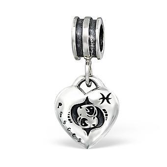 Hängende Sternzeichen Fische - 925 Sterling Silber Plain Beads - W12230X