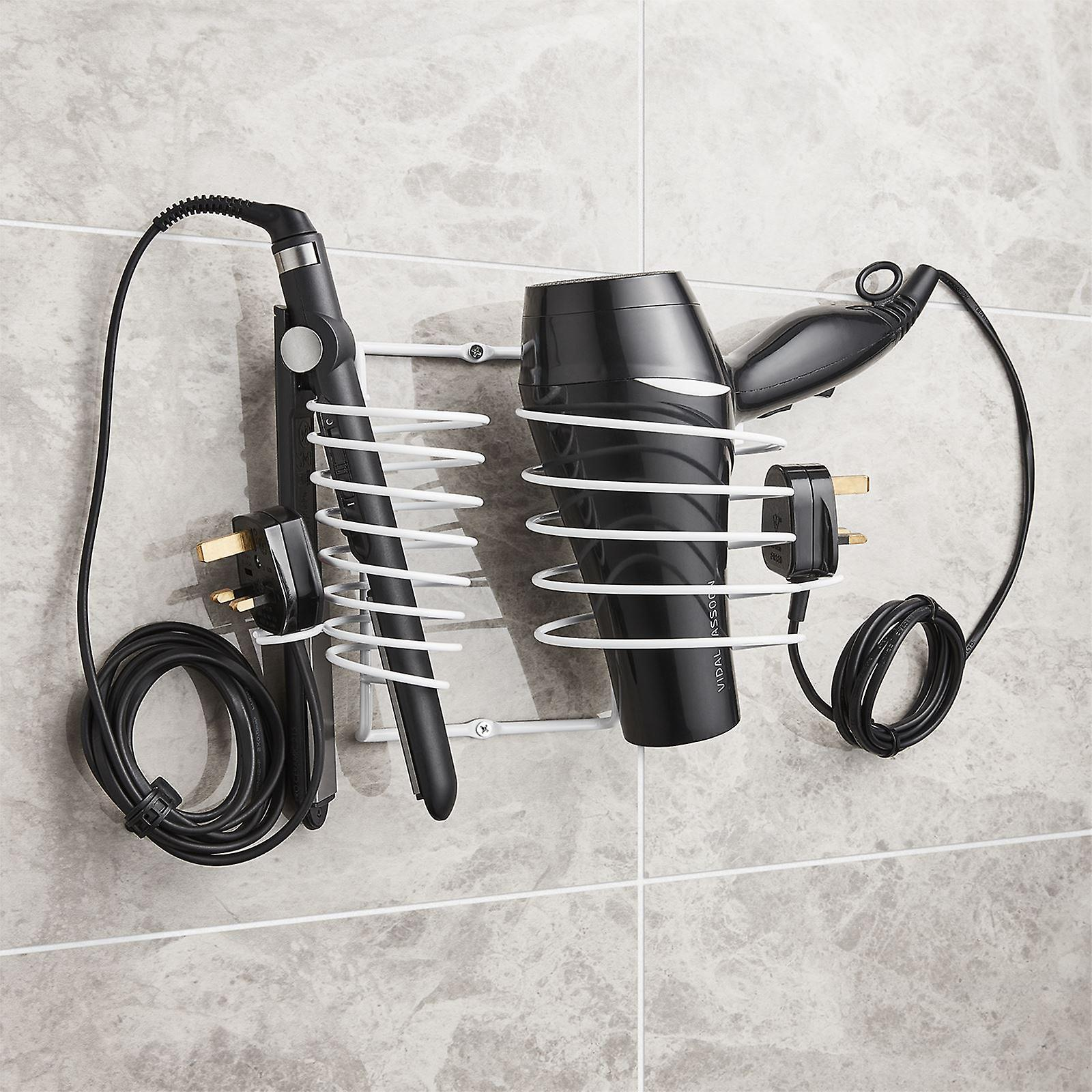 Hairdryer Holder Includes Straightener Holder And Cable Tidy White