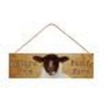 Mouton noir-fait face Plaque Funny Farm