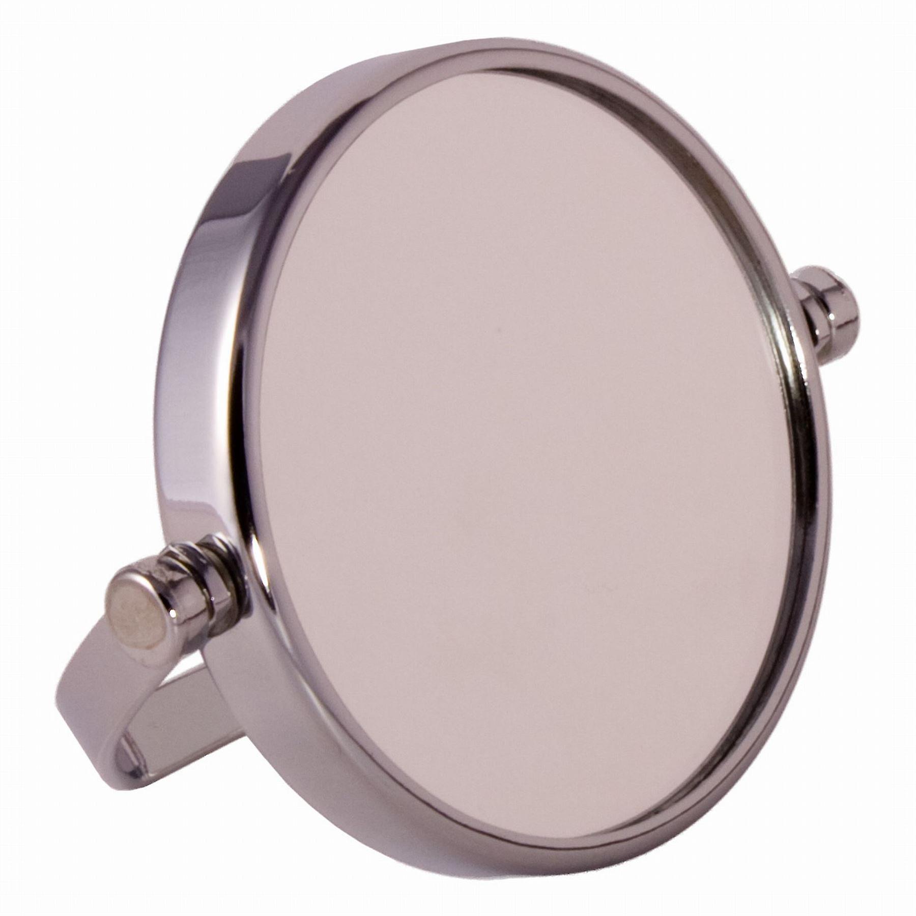 FMG Small Round Chrome Free Standing 7X Magnifying Travel Mirror 10cm Diameter