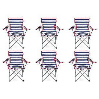 Yello 6 cadeiras de praia dobrável para Camping, pesca ou praia - listrado azul/branco