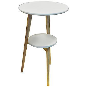 Orion - tripé de madeira sólida retrô perna de mesa redonda com prateleira - branco / Natural