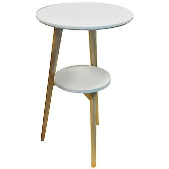 Orion - Retro trípode madera maciza pata mesa con estante - Natural / blanco