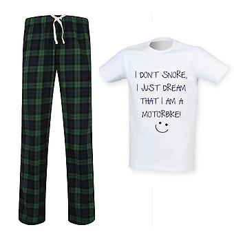 Mens I Don & t Snore I Dream I & m A دراجة نارية Tartan Pyjama Set