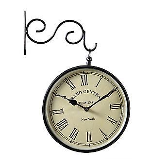 Doble tren de Metal cara reloj de pared