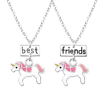 Plata de ley unicornio mejores amigos collar conjunto