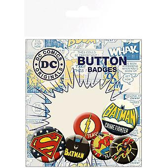 DC Comics Originals retro pulsante badge Pack