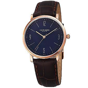 Akribos XXIV naisten kvartsi helppo lukea nahka sininen hihna Watch AK922RGBU