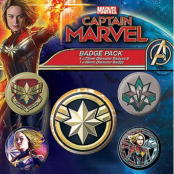 Capitanul Marvel Button set patch-uri colorate, imprimate, realizate din tablă, 1X x 3,8 cm, 4x x 2,5 cm.