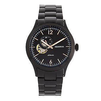 Heritor Automatic Antoine Semi-Skeleton Bracelet Watch - Black