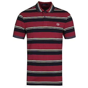 Fred Perry contrast streep Bordeaux Pique Polo shirt