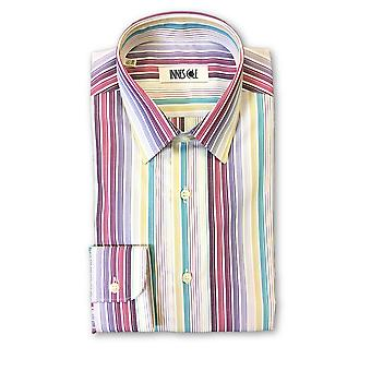 Ingram shirt in multi colour barcode stripe pattern