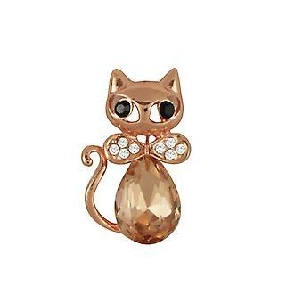 Ewige Sammlung Yoko Topaz und klaren Kristall Rose Gold Ton Katze Brosche