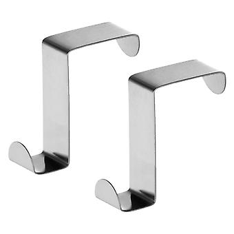 2 Towel Hooks Hooks for Bathroom Door and Drawers in Stainless Steel Reversible Set of 2