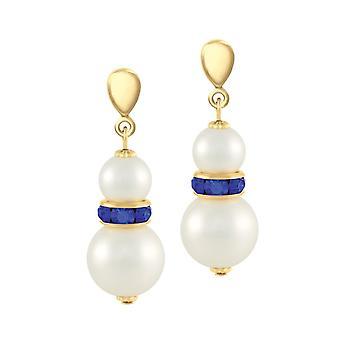 Eternal Collection Alpine Sapphire Crystal Shell Pearl Gold Tone Drop Pierced Earrings