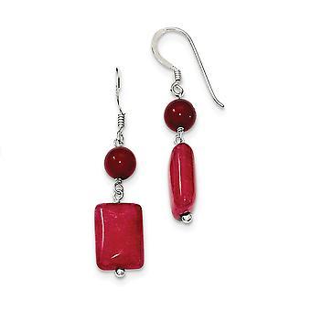 925 sterling sølv shepherd krok rød opprettet simulert korall rød agate øredobber smykker gaver til kvinner