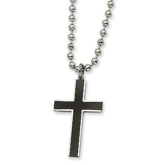 Edelstahl poliert Reversible Fancy Hummer Verschluss Kohlefaser religiösen Glauben Kreuz Halskette 22 Zoll Schmuck Gi
