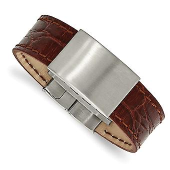 23.33mm Stainless Steel Brushed Medium Brown Leather ID Bracelet 8.5 Inch Jewelry Gifts for Women