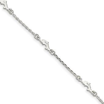 925 Sterling Silver Fancy Lobster Closure Polished Dolphin With 1in Ext. Anklet 9 Inch Jewelry Gifts for Women